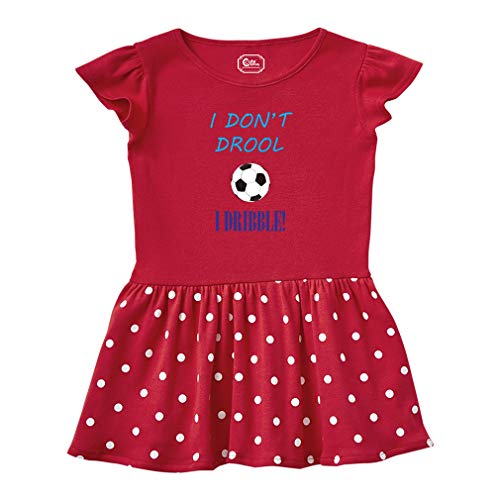 (I Don't Drool I Dribble! Soccer Short Sleeve Taped Neck Girl Cotton Toddler Rib Dress School Clothes - Red, 2T )