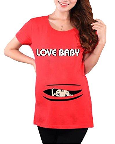 Shirt Premaman Stampa Kerlana Donna T Top Corta Magliette Gravidanza Magliette Bluse Manica Red2 Camicetta Divertente Estive dx0tqrX7wq