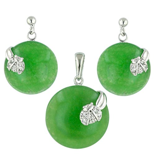 .925 Sterling Silver Natural Green Jade with CZ lady Bug Earring and Pendant Set - Jade Pendant Earring Set