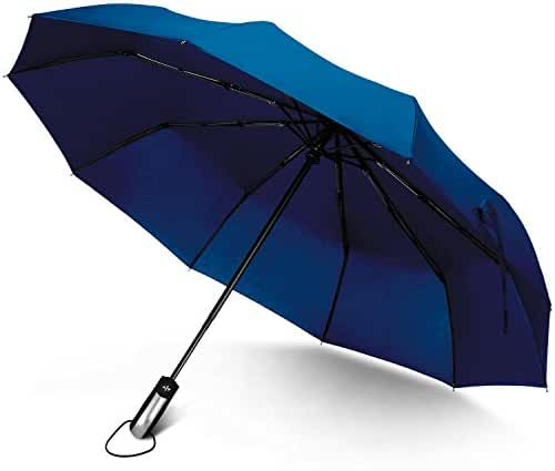 Rainlax Travel Umbrella Unbreakable Lightweight 10 Ribs Automatic Compact Windproof Canopy Umbrellas for Men/Women One Handed Operation