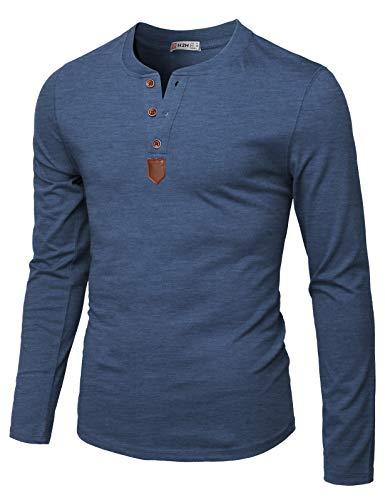 H2H Mens Casual Slim Fit Basic Henley Long Sleeve T-Shirt DARKBLUE US XL/Asia 2XL (CMTTL0103)