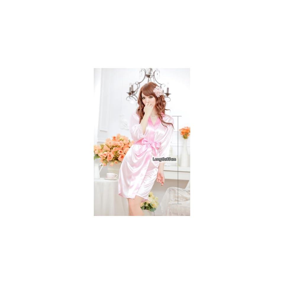 USAMZ909™ New Sexy Women's Satin Kimono Robe Sleepwear Dress With Waistband Hot Sales Black Free Size Health & Personal Care