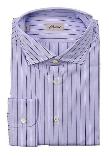 (Brioni Mens Light Blue Striped Cotton Button Down Dress Shirt EU47/US18.5~$700)