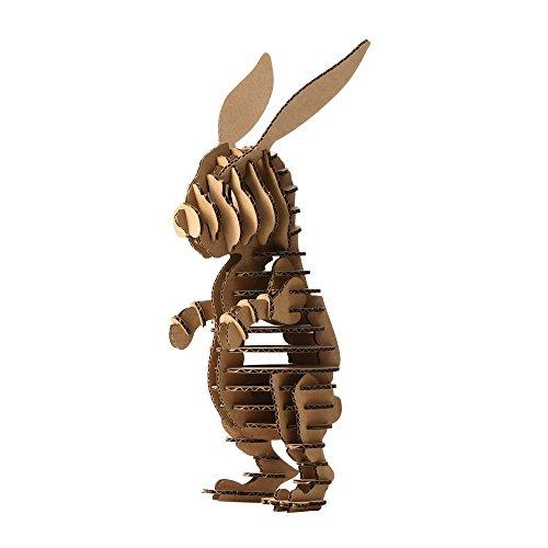 Paper Maker DIY Easter Bunny Decoration 3D Puzzle Rabbit Model Toys Kids (Brown)