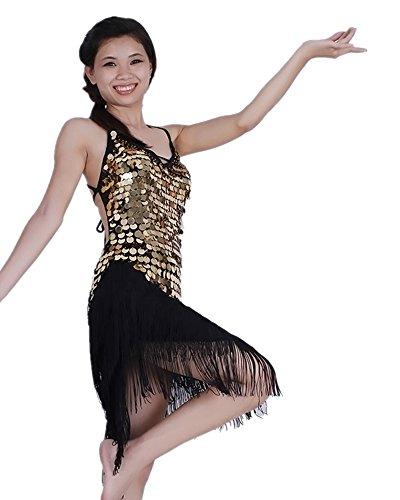 Baile Club de Sin Baile de Disfraz Borla de Latino Traje Disfraz Mangas Mujeres Negro alta de Sin Noche KINDOYO Respaldo Oro Traje Gama Competencia Traje xn8wIq7nOT