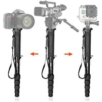 65-inch Aluminum Monopod Alpenstock,KINGJOY MP309 With 5-section Adjustable Monopod With Max Load 44.1lbs UNC1/4 UNC3/8 For Camera Video