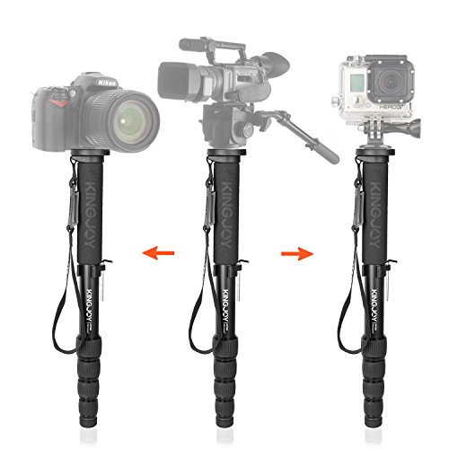 65 Inch Aluminum Monopod Alpenstock Kingjoy Mp309 With 5 Section Adjustable Monopod With Max Load 44 1Lbs Unc1 4  Unc3 8  For Camera Video