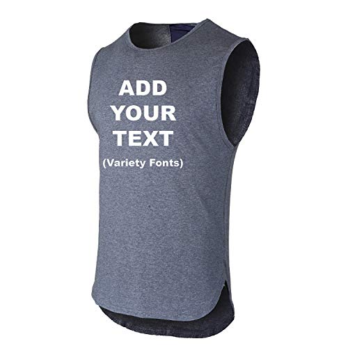 O2TEE Men's Workout Gym Tank Tops Men - Custom Tank Top - Customized & Personalized Tanktops Text Grey X-Large