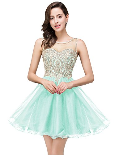 MisShow Women's Crystals Backless 2017 Homecoming Dresses Short Prom Gowns