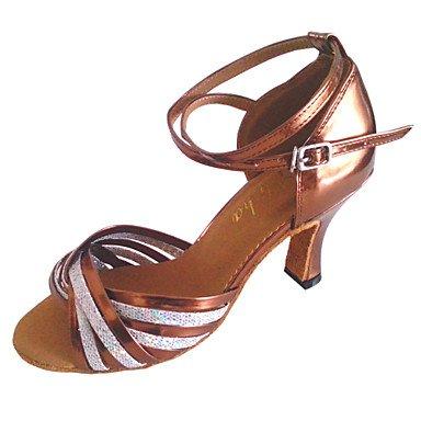 XIAMUO Angepasste Frauen Kunstleder Tanz Schuhe für Latein und Salsa, Bronze, US 6 / EU 36/UK4/CN 36
