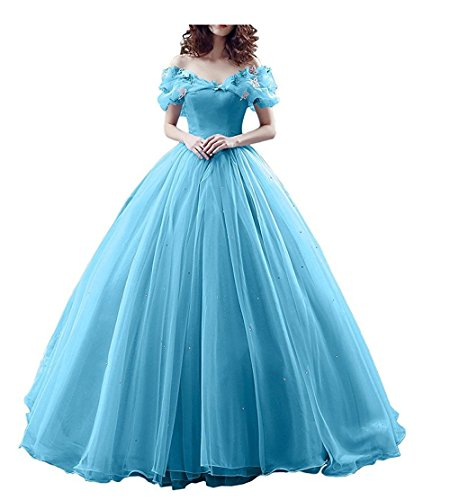 Chupeng Women's Princess Costume Off Shoulder Prom Gown Wedding Dresses Evening Gown Quinceanera Dress 2019 Sky Blue]()
