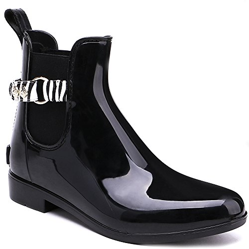 TONGPU de Slip On Mujer Negro Botas Moda lluvia Chelsea Ankle Negro 06qr07
