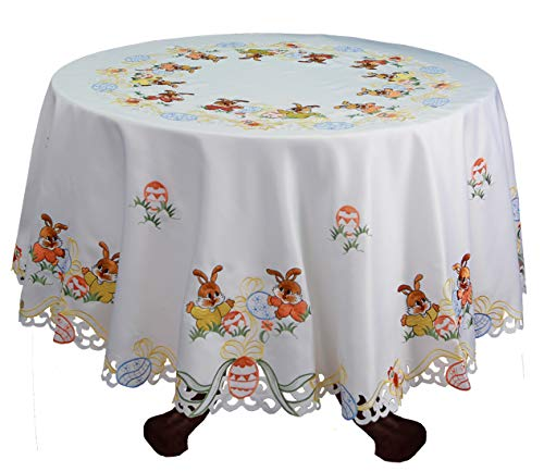 Creative Linens Embroidered Easter Bunny Egg Floral Tablecloth with Napkins White