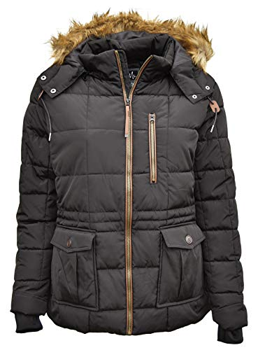 Pulse Womens Plus Size Extended Arrow Quilted Parka Anorak Coat (3X (24), Black)