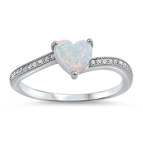 White Simulated Opal Heart Promise Ring New .925 Sterling Silver Love Band Size 9