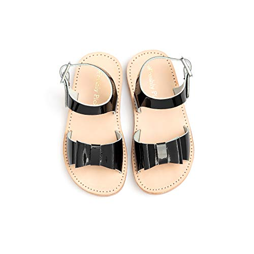 (Freshly Picked - Bayview Toddler Girl Leather Sandals - Size 4 Black Patent)