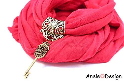 Écharpe foulard bijou rouge - clé Alice au pays des merveilles