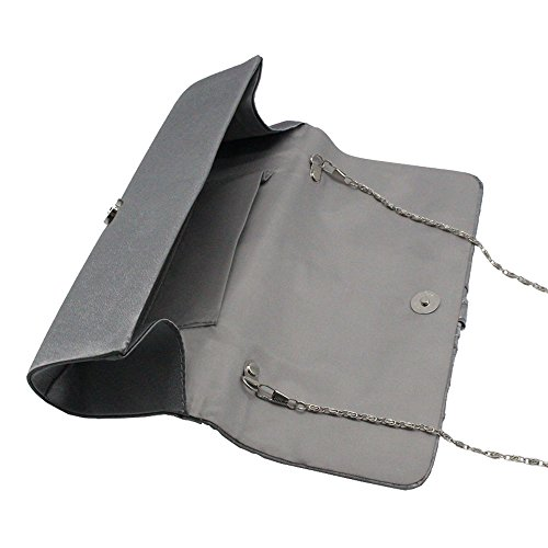 Purse Diamante Handbags Clutch Grey Wedding Satin Ladies Evening TM Bag Womens Party Wocharm Shoulder gxw74vtqn