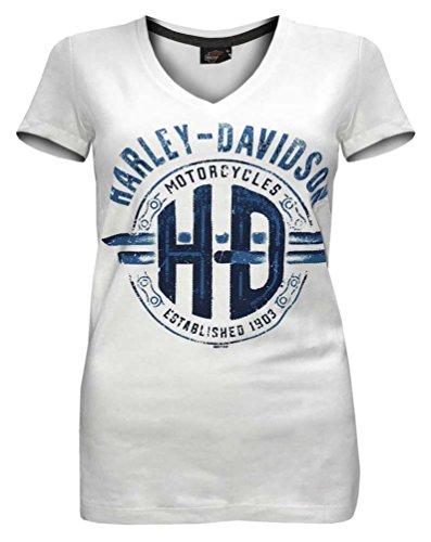 - Harley-Davidson Women's Unchained Spirit Short Sleeve V-Neck Tee 5L0K-HF2N (XS) White