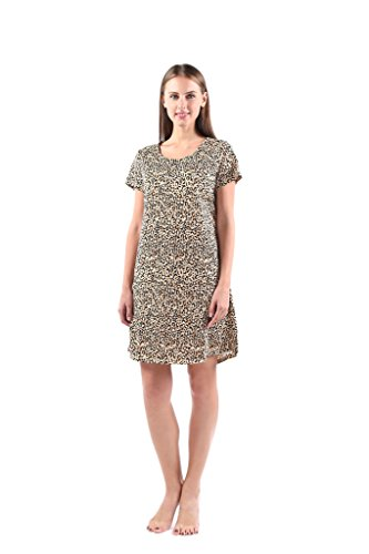 - PNAEONG Amoy-Baby Women's Nightgowns Short Sleeves Cotton Sleepwear Print Sleep Shirt XTSY001LLeopard