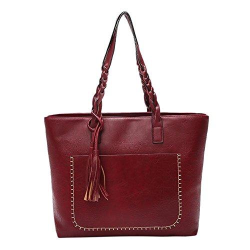 Domybest - Bolso mochila  de Piel para mujer Bean Red