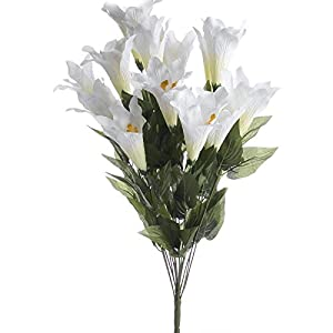 Lovely White Artificial Easter Lily and Green Leaf Bush for Easter and Spring Arranging and Decorating 72