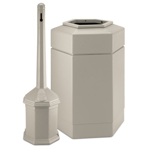 Site Saver Receptacle - Smokers' Outpost 30-Gal Site Saver Trash and Cigarette Receptacle Color: Beige