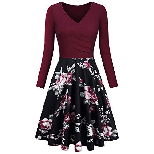 LisYOU Spring Summer 2019 Women's Long Sleeve Vintage Floral Print V Neck A-line Swing Dress(S, A-Wine)