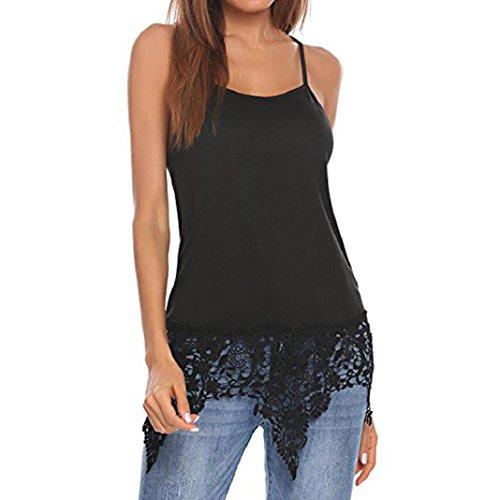 ShenPr Womens Lace Patchwork Irregular Hem Top Summer Spaghetti Strap Cross Strap Backless Camisoles Tank (XL, Black) ()