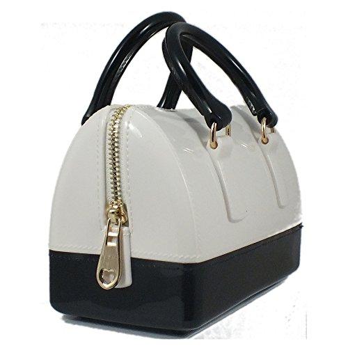 È E 5 Nero Cm Bag In Di 17x9x11 Donna Bianco Maniglie Sacchetto Plastica Multicolore ZZzgrq