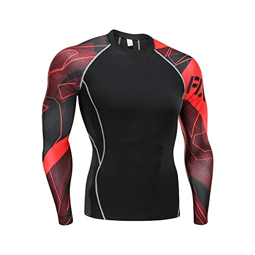 ANJUNIE Men Workout Long Baselayer Skins Performance Fit Compression Rash Guard Yoga Athletic Pants+Shirt Suit(Black8,XXL) ()