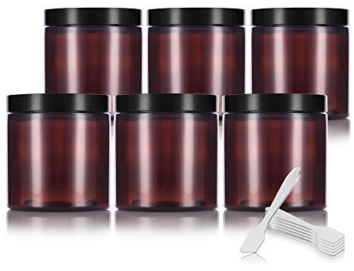 Amber 8 oz / 250 ml PET (BPA Free) Plastic Jar (6 pack) + Spatulas