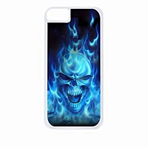 Skull in Blue Flames- Case for the Apple Iphone 5C-Hard White Plastic Outer Shell with Inner Soft Black Rubber Lining