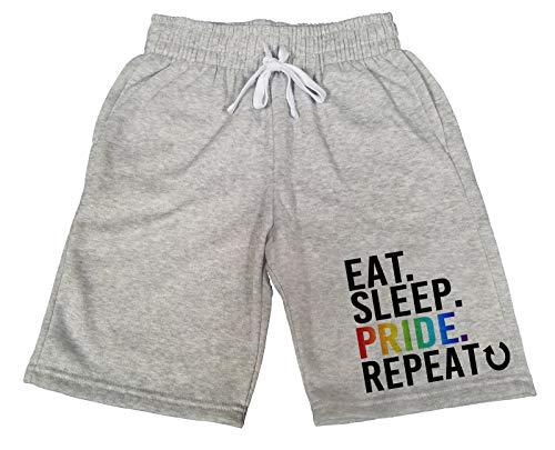 (Koyotee Men's Eat Sleep Pride Repeat T208 Gray Fleece Jogger Sweatpants Gym Shorts 2X-Large)