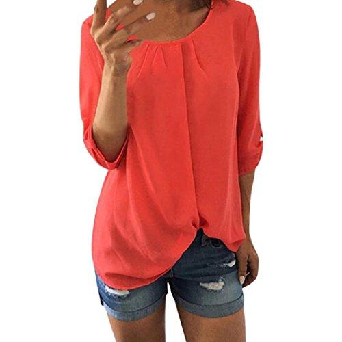 Women Casual Chiffon Tank Top O Neck T-Shirt Three Quarter Sleeve Blouse - Ruffle Tank Suit