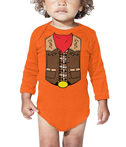 HAASE UNLIMITED Cowboy Costume - Western Wild West Long Sleeve Bodysuit (Orange, 12 Months) ()