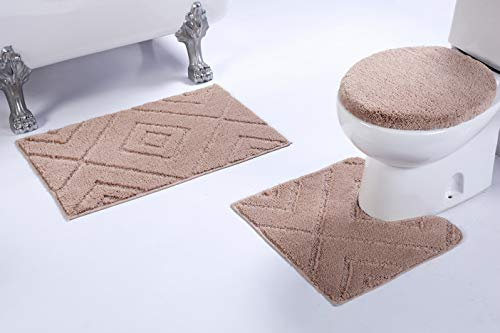 Luxury Home Collection 3 Piece Microfiber Bathroom Rug Set Non-Slip Bathroom Rug Contour, Mat and Toilet Lid Cover #668 (Beige, 3 PCE Set) ()