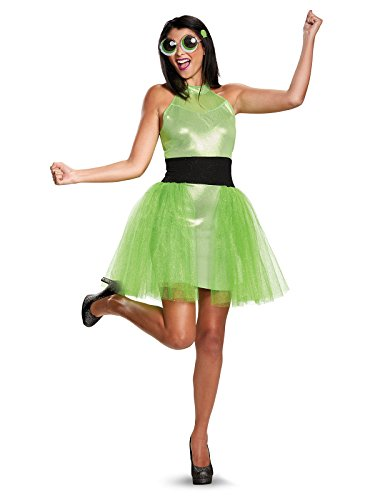 Disguise Women's Buttercup Deluxe Adult Costume, Green, Medium