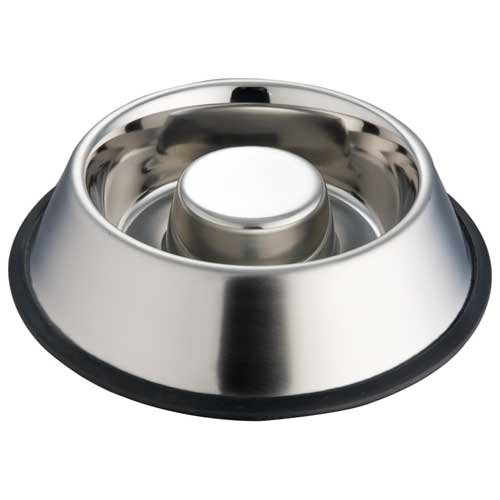 Indipets Extra Heavy One Piece Stainless Steel Non Tip - Anti Skid Health Care Slow Feeding Dish, Medium