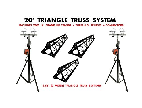 Two 14' Crank Up Stands + Three 6.56ft. 2 Meter Black Metal Bolted Triangle Truss Segments 14' Two Light