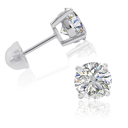 - 4ct tw Sterling Silver Stud Earrings made with Swarovski Zirconia