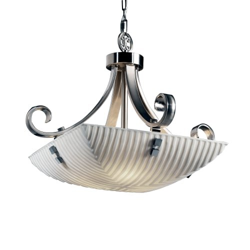 Justice Design Group Lighting Pna-9741-25-Wfal-Nckl-F2-LED3-3000 Porcelina-Scrolls w/Finials 24