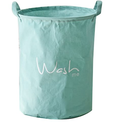 Canvas Clothes Hamper - Moolecole Foldable Large Cylindric New Solid Color Canvas Fabric Storage Bin Storage Basket Organizer for Kid's Room Toy Storage, Laundry Hamper for Clothes Green