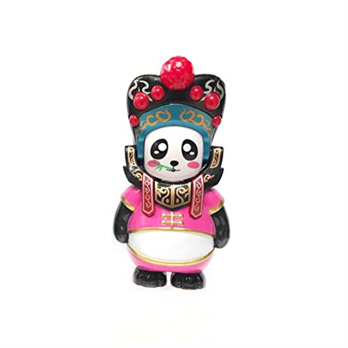 Dolls, Ikevan New Traditional Creative Chinese Opera Face Changing 8 faces Changing Doll Panda Opera Figure Toy (Pink)
