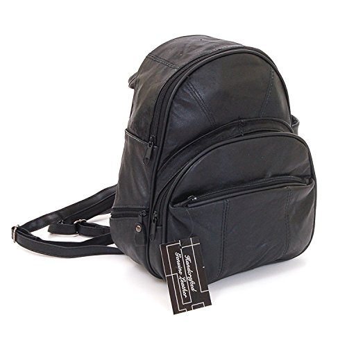 Leather Backpack Purse Mid Size & Convertible into single strap sling Bag or Backpack wearing Multiple Organizer Pockets Black