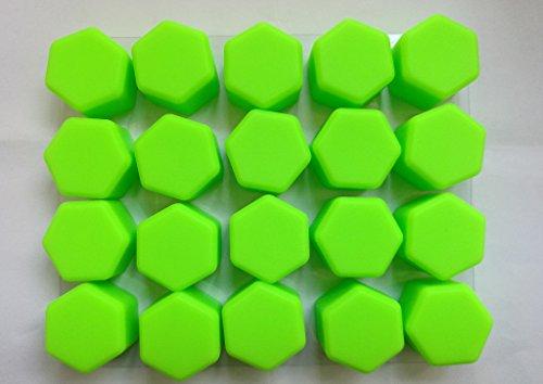(Bacera 19mm Silicone Auto Wheel Hub Screw Cover for GMC Chrysler Nissan Volvo Honda Toyota Ford Mazda 20Pcs kits (Green))
