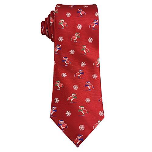 Mens Woven Neckties Design Tie Holiday Christmas Gift Red Neck Tie (Penguin Snowboarding) ()