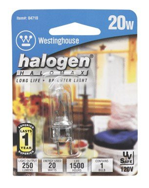 Westinghouse 0471000, 20W T4, GY7.9/8.0 Base Clear 1500Hr 200Lm 120V Halogen Light Bulb, 6-Pk