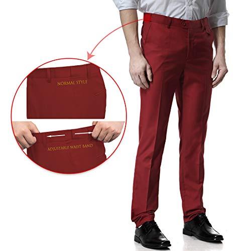 Wine Suit Vest Jacket Blazer Slim Fit Notch Trousers Tux Piece Button Set CHARM Men's amp; Two Red 3 Lapel WEEN nqAUvA