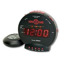 Sonic Alert sbb500ss Sonic Bomb Loud Reloj de alarma dual con cama coctelera
